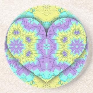 Porta-copos De Arenito Coração festivo vibrante do Pastel 3d dado forma