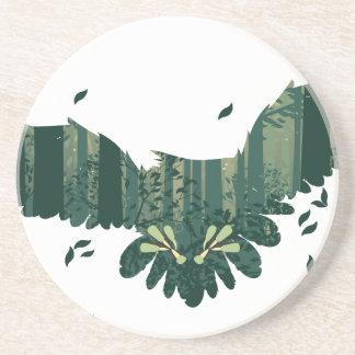 Porta-copos De Arenito Coruja e paisagem da floresta do abstrato