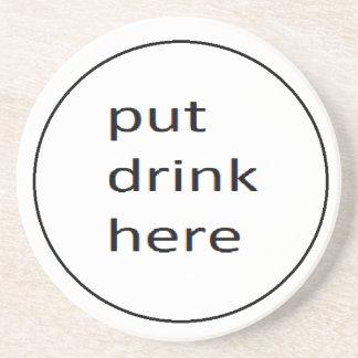 Porta-copos De Arenito coster psto da bebida aqui