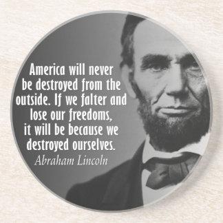 Porta-copos De Arenito Cotação de Abe Lincoln na liberdade