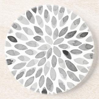 Porta-copos De Arenito Cursos da escova da aguarela - preto e branco
