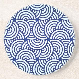 Porta-copos De Arenito Curva azul do japonês de Deco
