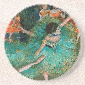 Porta-copos De Arenito Dançarino no verde por Edgar Degas