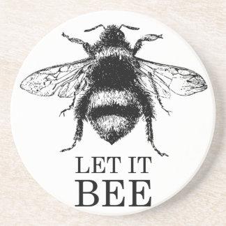 Porta-copos De Arenito Deixado o a natureza do vintage da abelha Bumble a