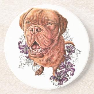 Porta-copos De Arenito Desenho da arte e dos lírios do cão do Mastiff de