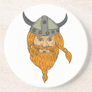 Porta-copos De Arenito Desenho da cabeça do guerreiro de Viking do