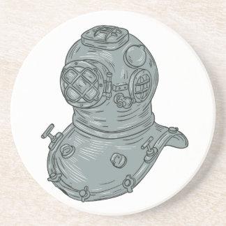 Porta-copos De Arenito Desenho do capacete do mergulho da velha escola