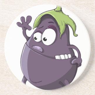 Porta-copos De Arenito Desenhos animados Toothy Eyed da beringela vegetal