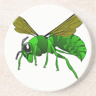 Porta-copos De Arenito Desenhos animados verdes e abelha da vespa do