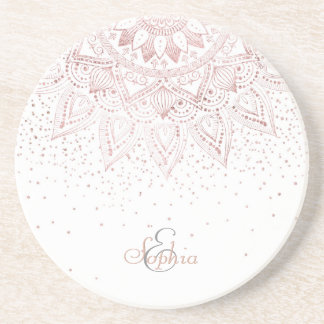Porta-copos De Arenito Design cor-de-rosa elegante dos confetes da