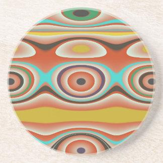 Porta-copos De Arenito Design do Oval e do teste padrão do círculo em do