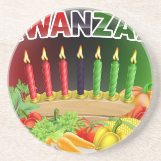Porta-copos De Arenito Design feliz da colheita de Kwanzaa primeiro