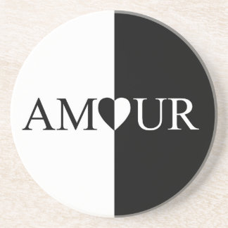 Porta-copos De Arenito Design preto e branco do amor do CASO AMOROSO