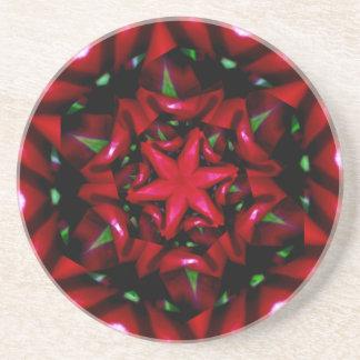 Porta-copos De Arenito design verde e vermelho da flor do kaleido