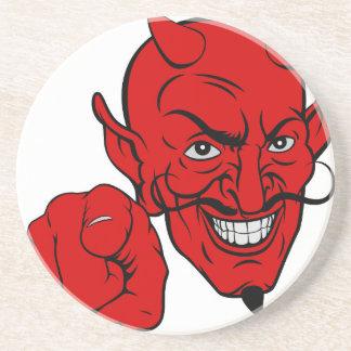 Porta-copos De Arenito Diabo que aponta o personagem de desenho animado