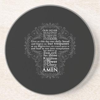 """Porta-copos De Arenito Do """"A Oração"""" """"presente cristão Jesus nosso pai"""""""