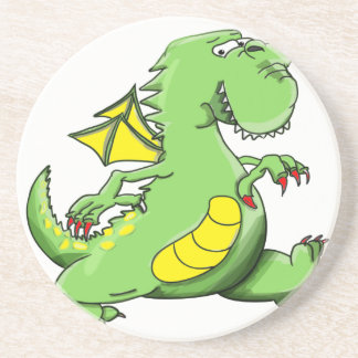 Porta-copos De Arenito Dragão verde dos desenhos animados que anda em