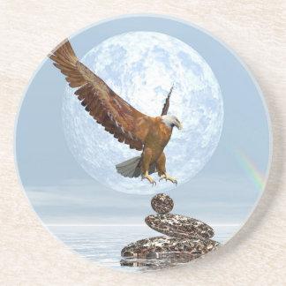 Porta-copos De Arenito Eagle que aterra em pedras equilibradas - 3D