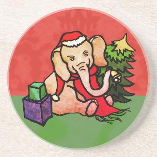 Porta-copos De Arenito Elefante bonito do papai noel do Natal com Bell e