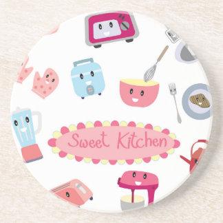 Porta-copos De Arenito Eletricidade cor-de-rosa doce da cozinha e ícone