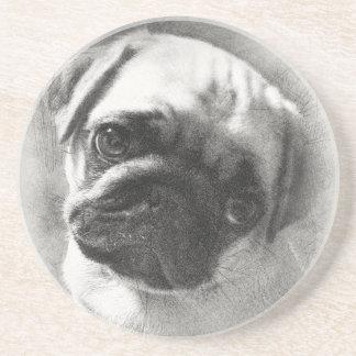Porta-copos De Arenito Esboço do cão de filhote de cachorro do Pug