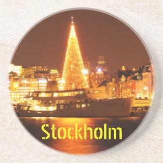 Porta-copos De Arenito Éstocolmo, suecia no Natal na noite