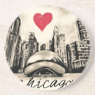 Porta-copos De Arenito Eu amo Chicago