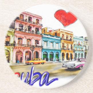 Porta-copos De Arenito Eu amo Cuba