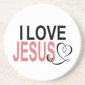 Porta-copos De Arenito Eu amo Jesus