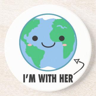 Porta-copos De Arenito Eu sou com ela - Dia da Terra do planeta