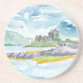 Porta-copos De Arenito Fantasia das montanhas de Scotland e castelo de