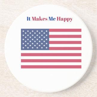 Porta-copos De Arenito Faz-me a bandeira americana feliz