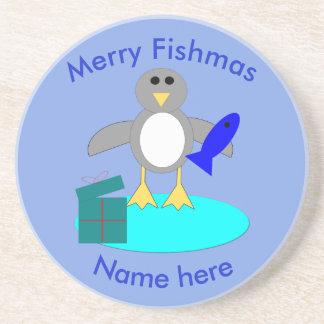 Porta-copos De Arenito Feliz Natal que pesca portas copos do pinguim