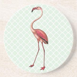 Porta-copos De Arenito Flamingo do vintage com fundo de Quatrefoil da