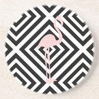 Porta-copos De Arenito Flamingo - teste padrão geométrico abstrato - rosa