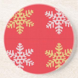 Porta-copos De Arenito Floco de neve feito malha vermelho
