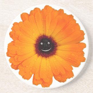 Porta-copos De Arenito Flor alaranjada de sorriso