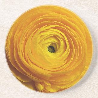 Porta-copos De Arenito Flor amarela do ranúnculo