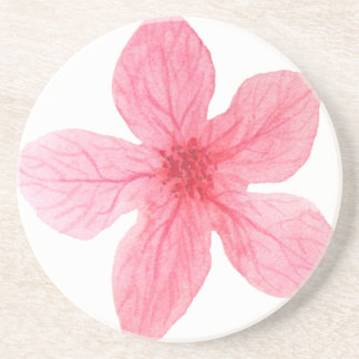 Porta-copos De Arenito flor cor-de-rosa da aguarela