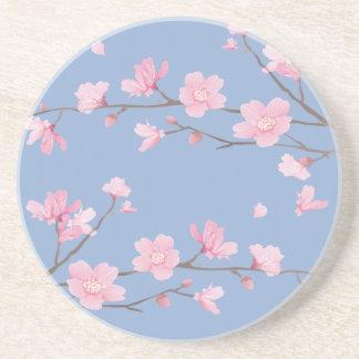 Porta-copos De Arenito Flor de cerejeira - azul da serenidade
