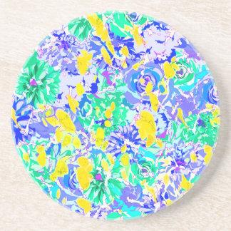 Porta-copos De Arenito Flores coloridas abstratas bonitos do primavera
