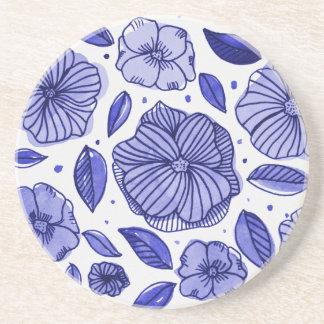 Porta-copos De Arenito Flores da aguarela e da tinta - paleta azul