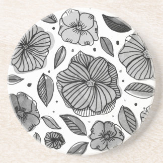 Porta-copos De Arenito Flores da aguarela e da tinta - preto e branco