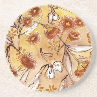 Porta-copos De Arenito Flores douradas da goma
