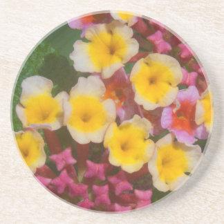 Porta-copos De Arenito Flores tropicais amarelas pequenas com botões
