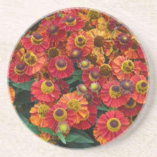 Porta-copos De Arenito Flores vermelhas e alaranjadas do helenium