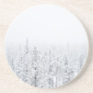Porta-copos De Arenito Floresta nevado