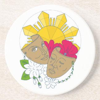 Porta-copos De Arenito Fluxo filipino de Sampaguita do hibiscus de Sun da