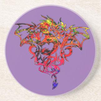 Porta-copos De Arenito Fogo abstrato que respira o dragão tribal