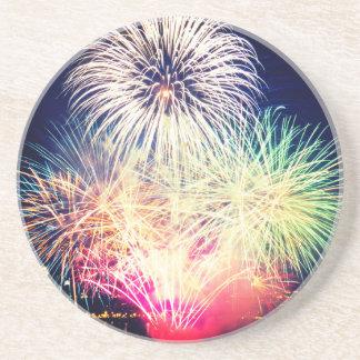 Porta-copos De Arenito Fogos-de-artifício coloridos